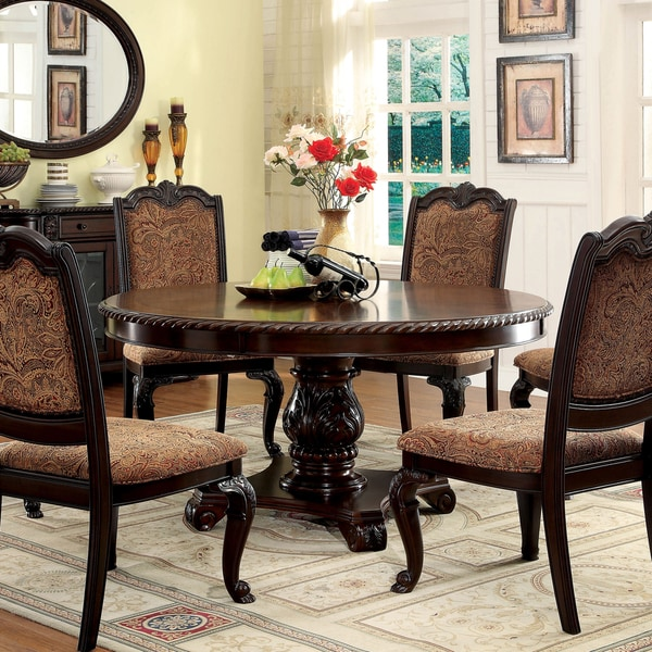Dining Table Set Deals: Furniture Of America Oskarre Brown Cherry Round Dining