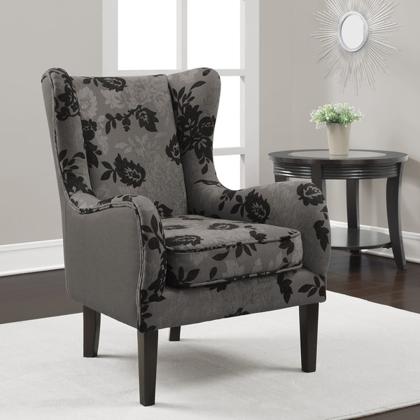 Curved Wood Bird Fabric High Back Accent Chair: Black Accent Chair Grey Two Tone Floral Curved High Back