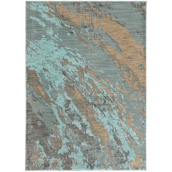 Abstract Marble Blue Grey Rug 3 10 X 5 5 17094910