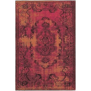 Overdyed Distressed Oriental Red Black Area Rug 5 X 7 6