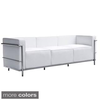 Mason White Leather Sofa 11182381 Overstock Com