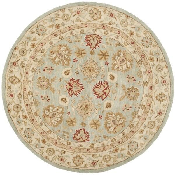 Safavieh Pl537b Persian Legend Wool Hand Tufted Navy Rust: Safavieh Hand-Tufted Antiquity Grey Blue/ Beige Wool Rug