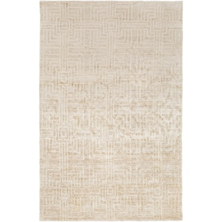 Hand Crafted Beige Solid Casual Dipson Wool Rug 5 X 8