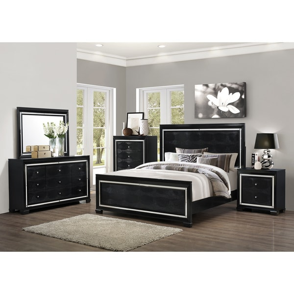 Art Van 6-piece Black Crocodile Finish Queen Bedroom Set