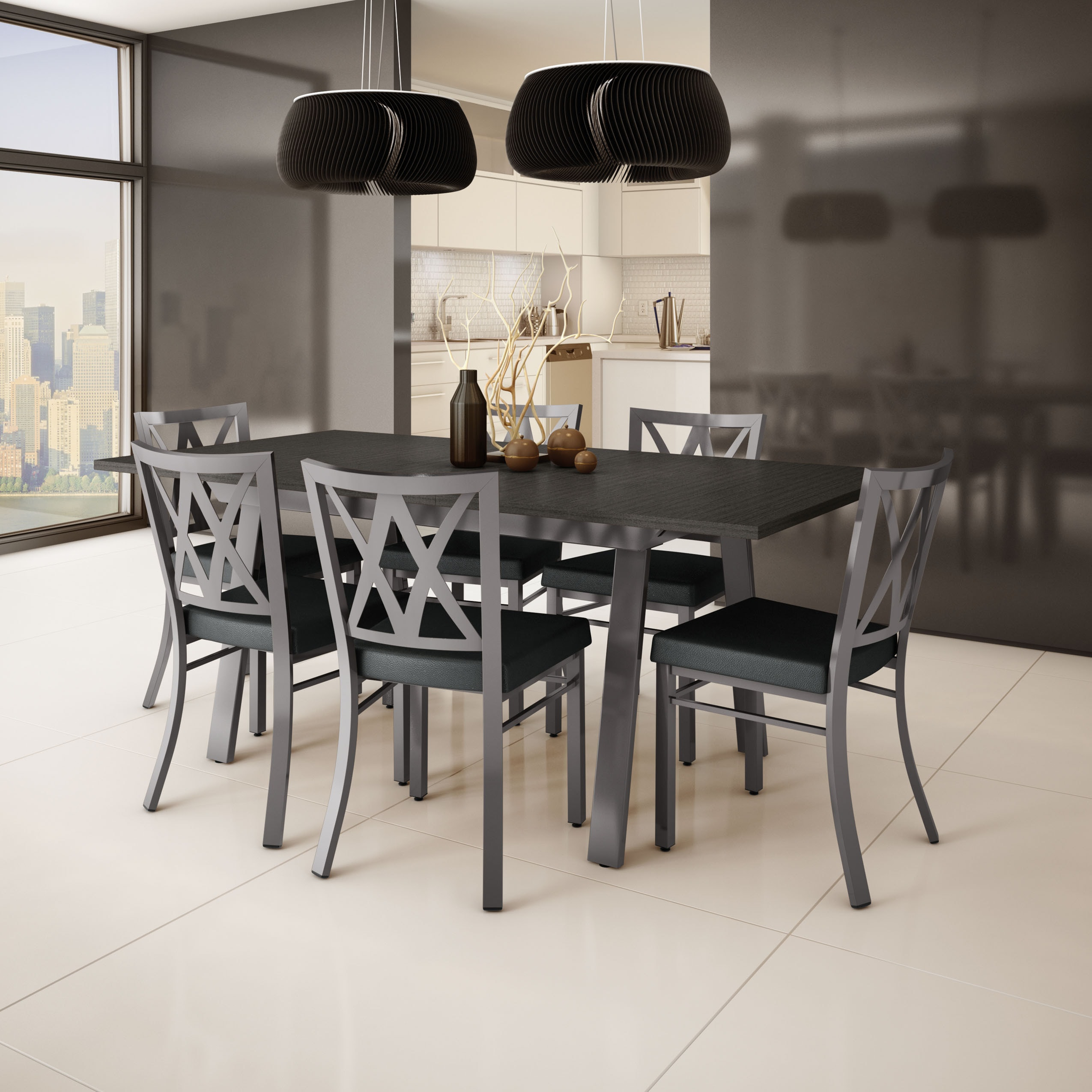 Amisco 'Washington' Metal Chair And 'Drift' Table Dining