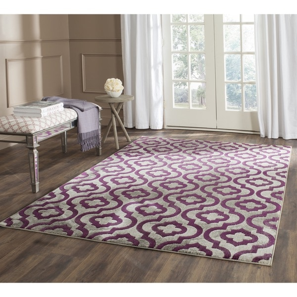 Walmart Purple Rug: Safavieh Porcello Light Grey/ Purple Rug (3' X 5