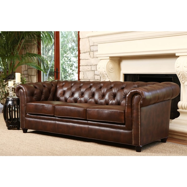 Abbyson Living Vista Tufted Distressed Brown Italian