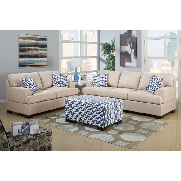 Does Sofa And Loveseat Have To Match: Poundex Moss 2-piece Living Room Set In Blended Linen With