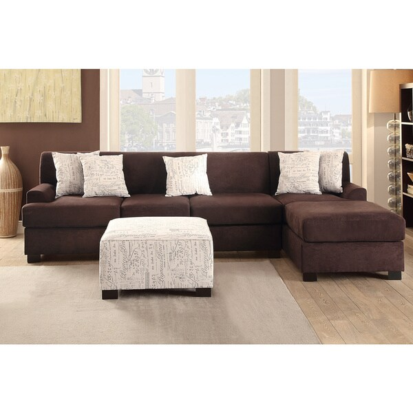 Abbyson Living Charlotte Dark Brown Sectional Sofa And Ottoman