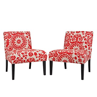 Portfolio Niles Red Floral Medallion Armless Accent Chair