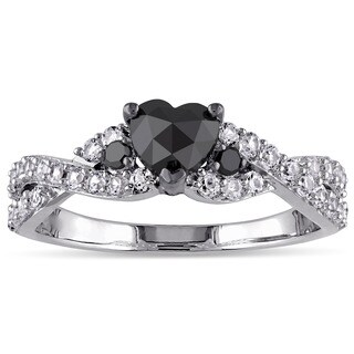 Miadora Sterling Silver Created White Sapphire 3/5ct TDW Black Diamond Crossover Heart Ring