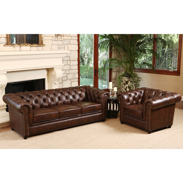 distressed leather sofa for living room | ABBYSON LIVING Vista Tufted Distressed Brown Italian ...