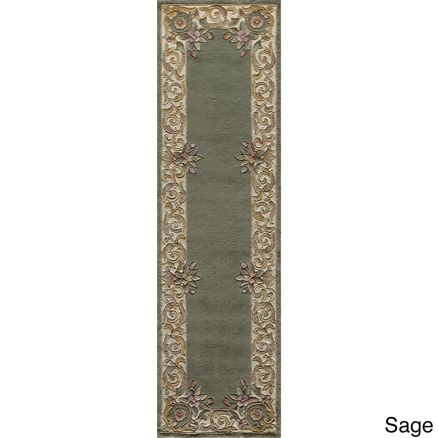 Aubusson Floral Border Hand-tufted Wool Area Rug (2'3 X 12