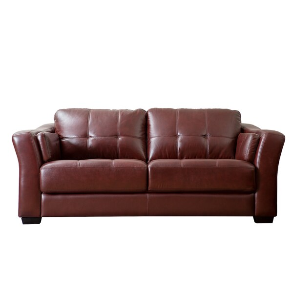 Contemporary Furniture Torrance: ABBYSON LIVING Torrance Burgundy Top Grain Leather Sofa