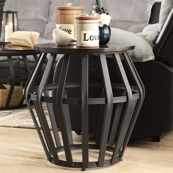 Overstock End Tables: TRIBECCA HOME Devon Metal Frame Round Cage Slate Accent
