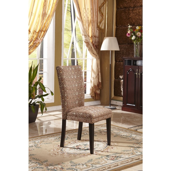 Classic Parson Red/ Gold Damask Fabric Dining Chair (Set