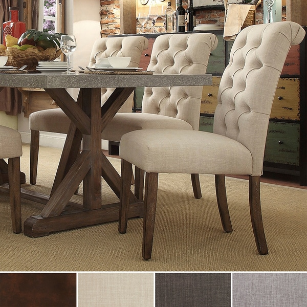 Dining Room Parson Chairs: TRIBECCA HOME Benchwright Button Tufts Upholstered Rolled