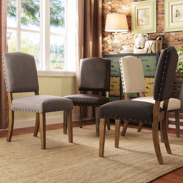 TRIBECCA HOME Benchwright Nailhead Upholstered Dining Side