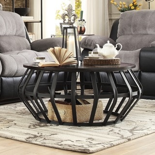 Round Glass Top Metal Coffee Table 14037744 Overstock