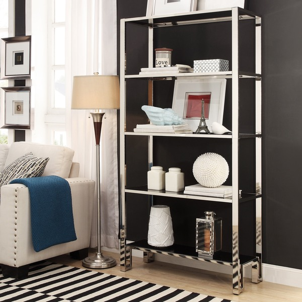 INSPIRE Q Alta Vista Black + Chrome Metal Single Shelving