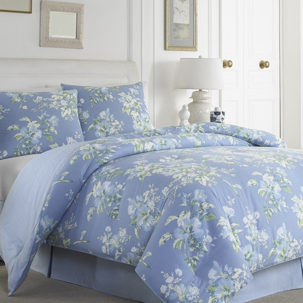 Laura Ashley Spencer Periwinkle Cotton 4-piece Comforter