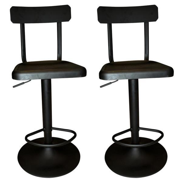 Haines Adjustable Industrial Style Metal Black Stool Set