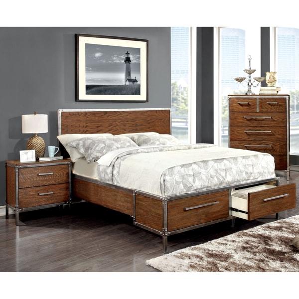 Furniture Of America Anye 3-Piece Industrial Style Dark