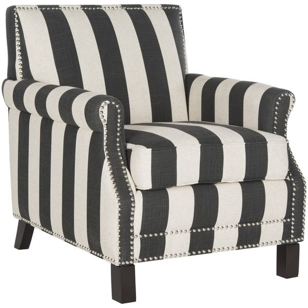 Safavieh Outdoor Living Cooley Black White Dining Set 5: Safavieh Easton Black And White Stripe Club Chair