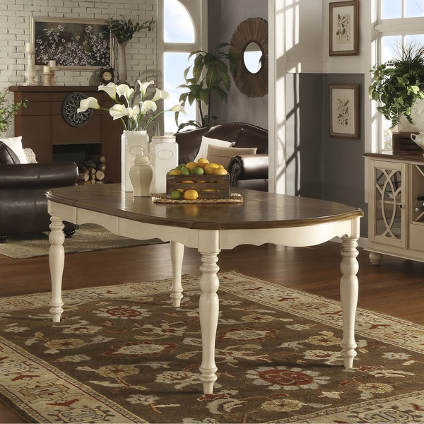 Country Dining Table With Bench: TRIBECCA HOME Shayne Country Antique Two-tone White