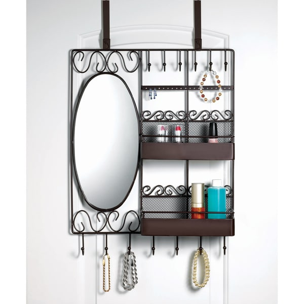 Home Basics Over The Door Vanity Scroll Jewelry And
