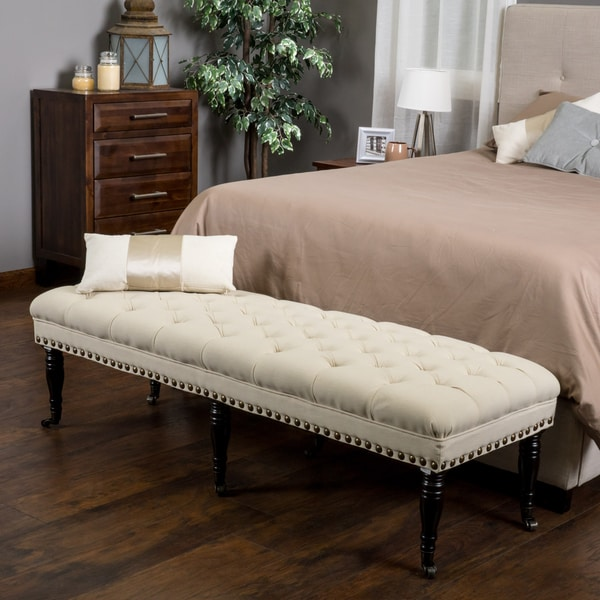 Ottoman Bench Bed Bench With Tufted Fabric In Off White