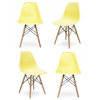 Retro Molded Light Yellow Plastic Dining Shell Chair With Wood Eiffel