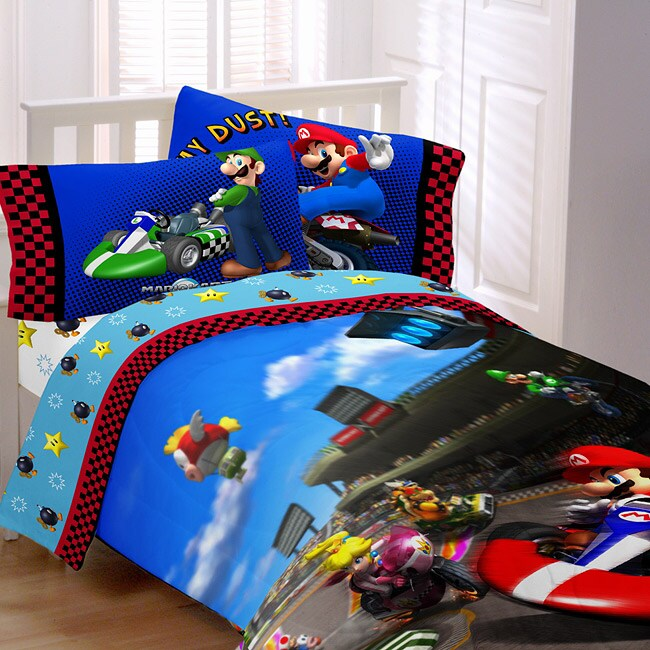 Super Mario The Race Is On Full Size 5 Piece Bed In A
