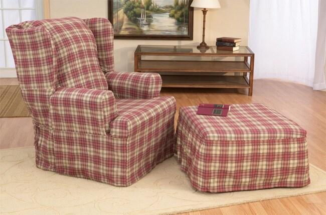 Berkley Plaid Slipcover Wing Chair 10029935