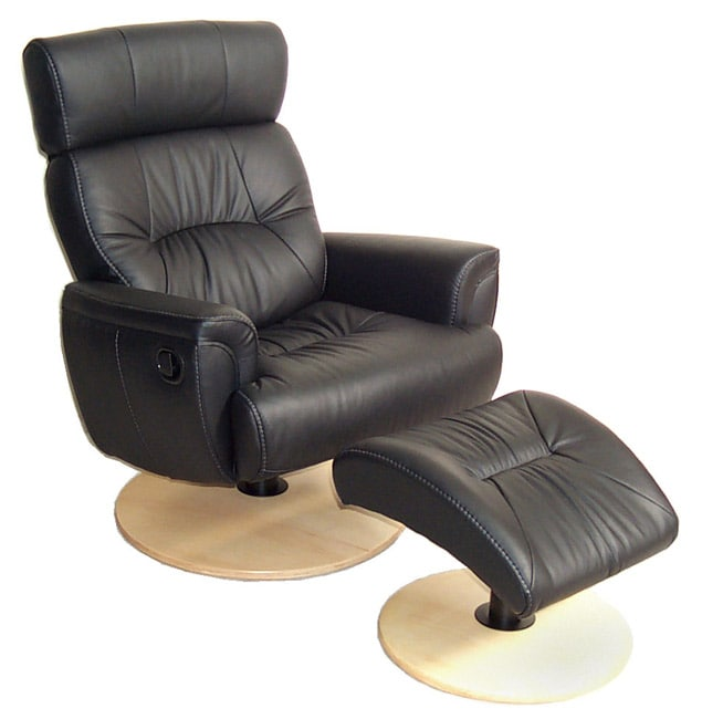 Chairworks Black Leather Recliner With Ottoman 1006764