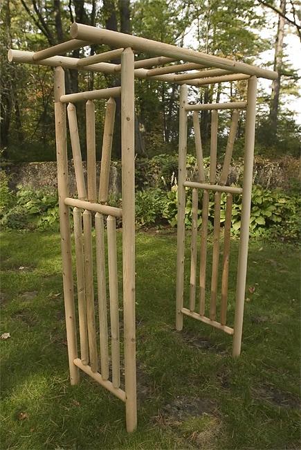 Rustic Log Pole Cedar Adirondack Garden Arbor 1010019
