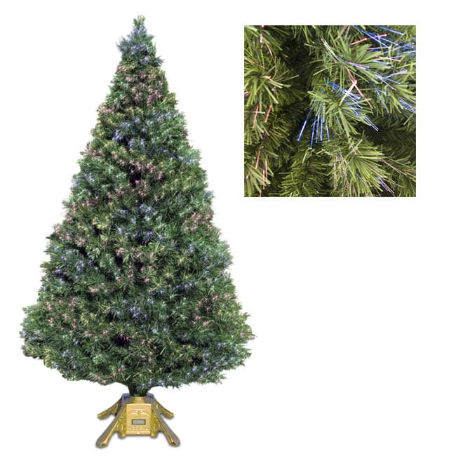 8-foot Fiber Optic LED & MP3 Artificial Christmas Tree ...