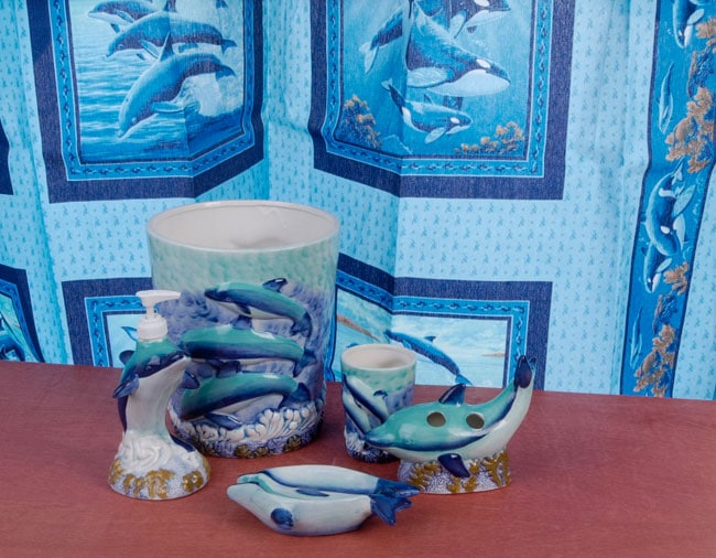 Dolphin Bathroom Accessories Set With Shower Curtain