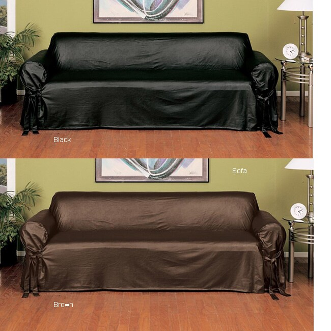 Faux Leather Slipcover Sofa 1015528 Overstock Com