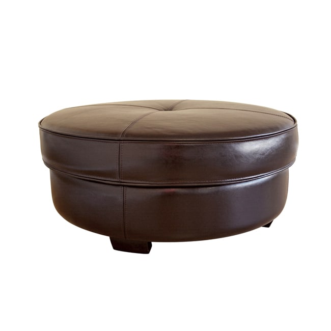 Howard Brown Bi Cast Leather Large Round Ottoman