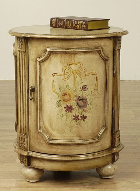 Hand Painted Antiqued White Drum Table 10182421