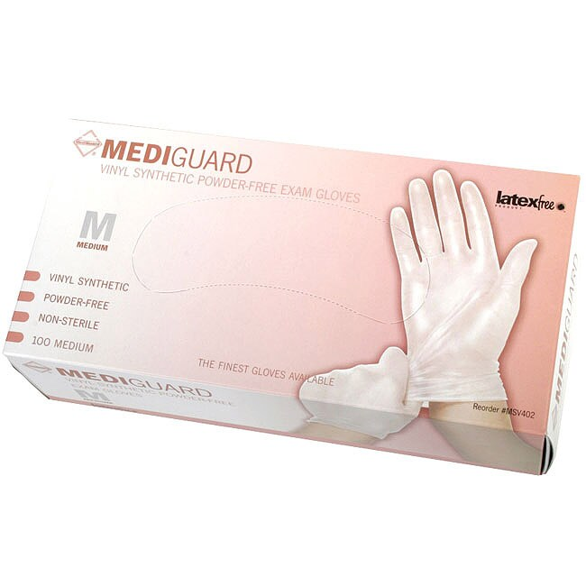 Medline Vinyl Powder Free Exam Gloves Medium Case Of