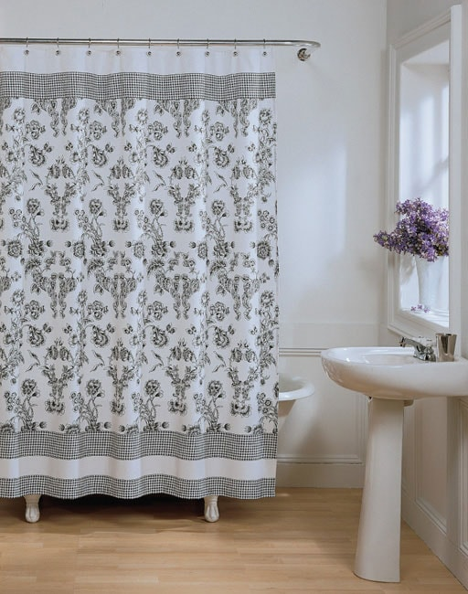 Toile Fabric Shower Curtain 10322617 Overstock Com