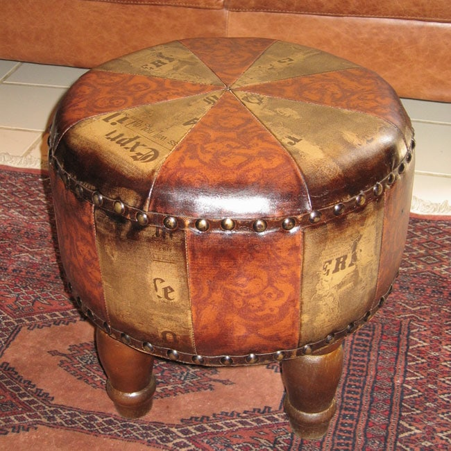 Faux Leather Small Round Ottoman Overstock Shopping