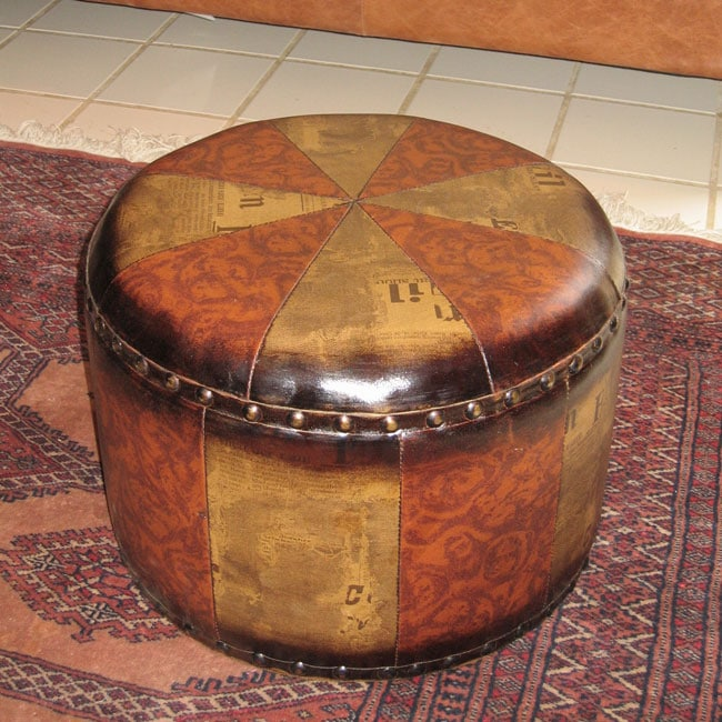 Faux Leather Small Round Ottoman 10374331 Overstock
