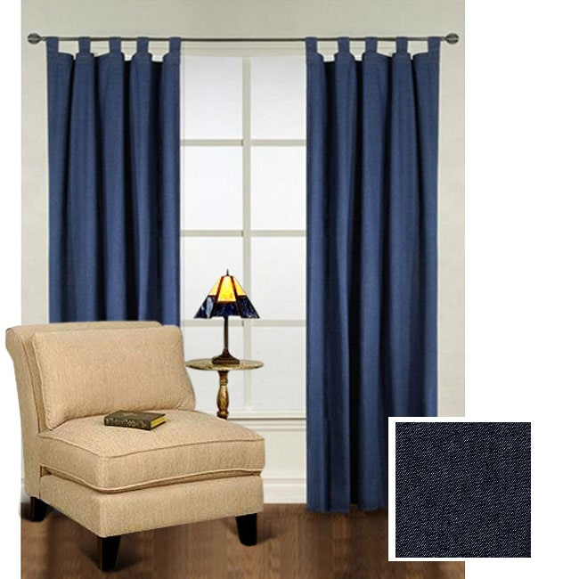 Heavy Denim Tab Top 86 Inch Curtain Panel Pair 10441056