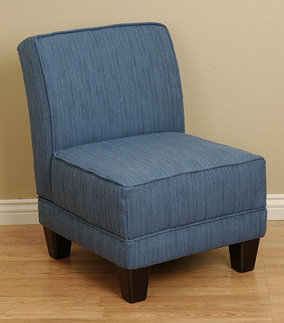 Denim Textured Welted Slipper Chair 10497900 Overstock