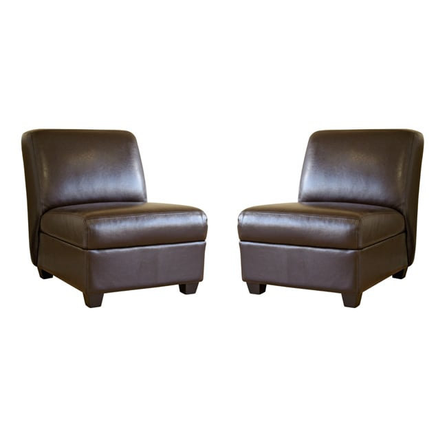 Bernay Espresso Brown Faux Leather Club Chairs Set Of 2