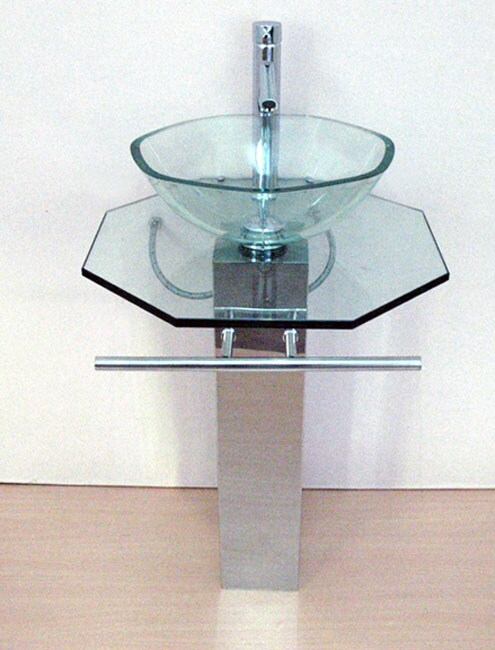 Pedestal Glass Sink With Stainless Steel Stand 10544675