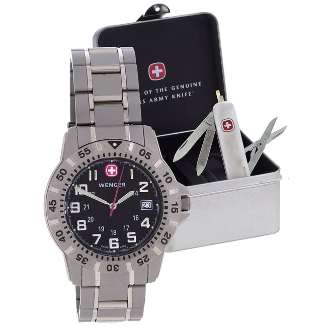 Wenger Swiss Army Knife And Titanium Watch Gift Set